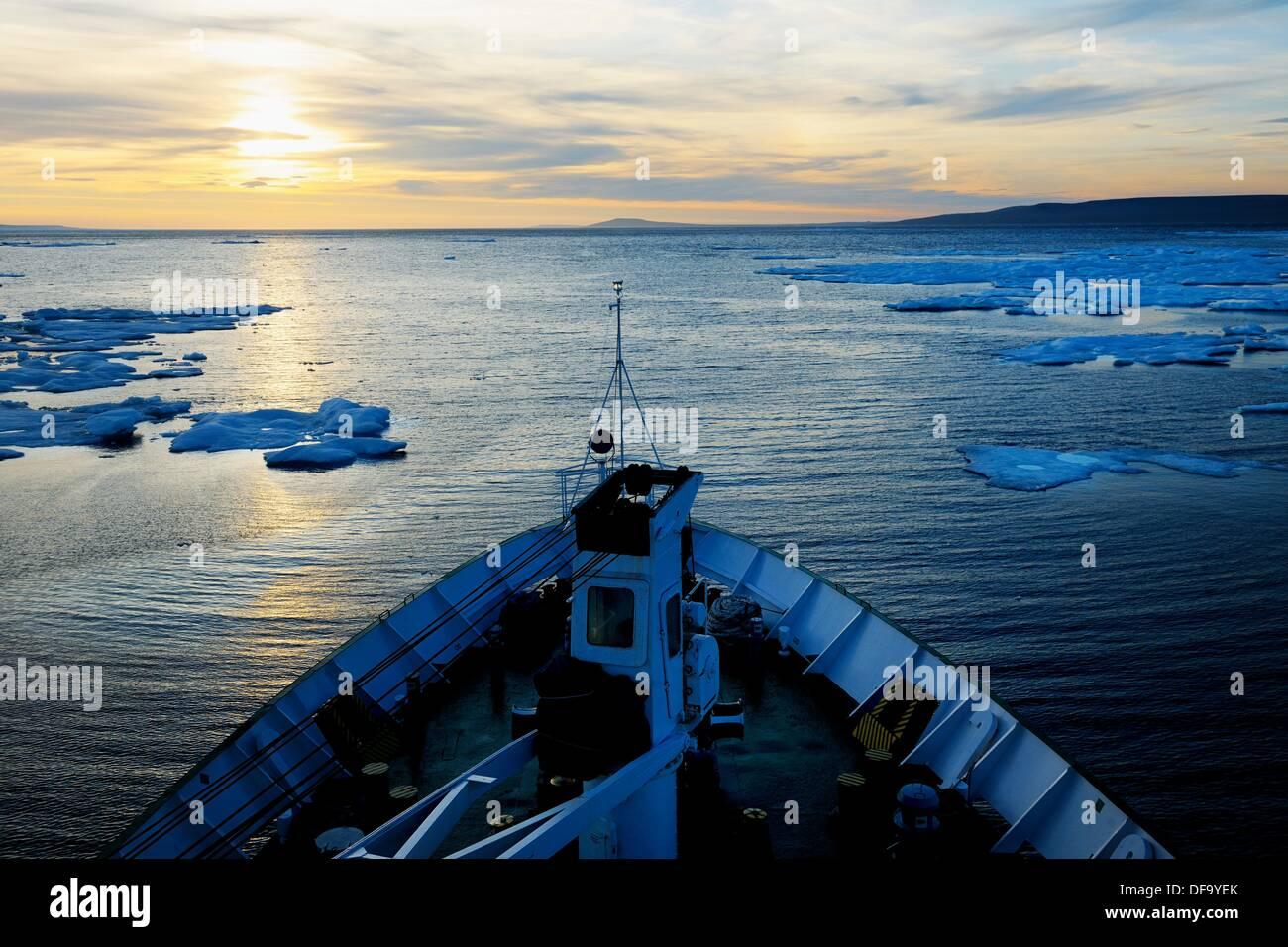 Lyubov Orlova ship in the summer icepack, off Devon Island  Nunavut, Canada - Stock Image