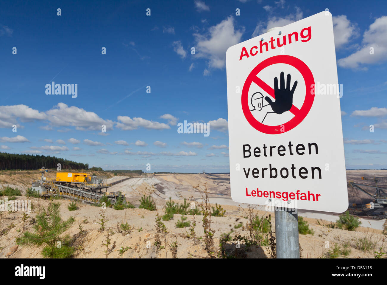 'Betreten verboten' (no entry) sign at opencast brown coal mine - Stock Image