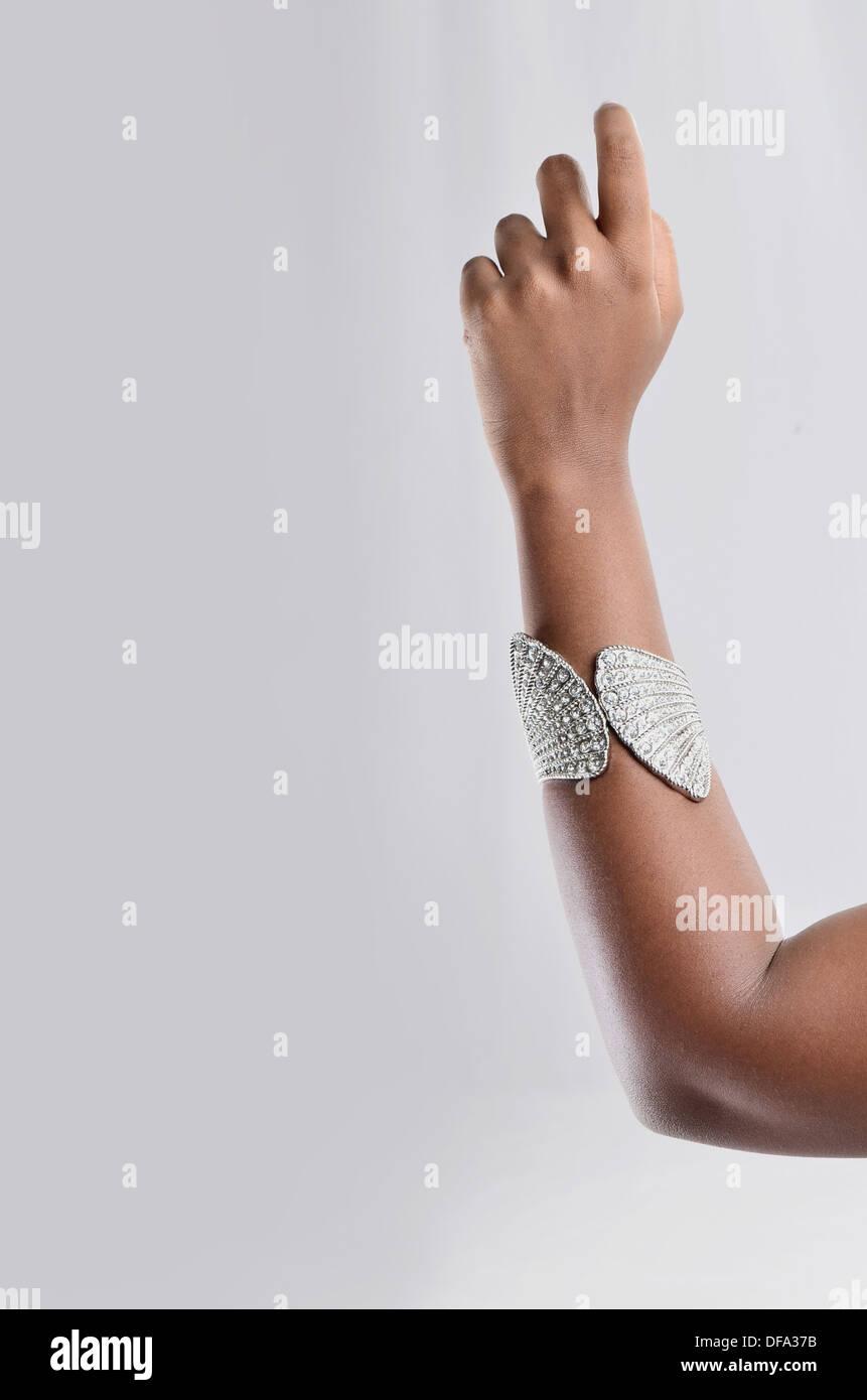silver metallic bangle - Stock Image