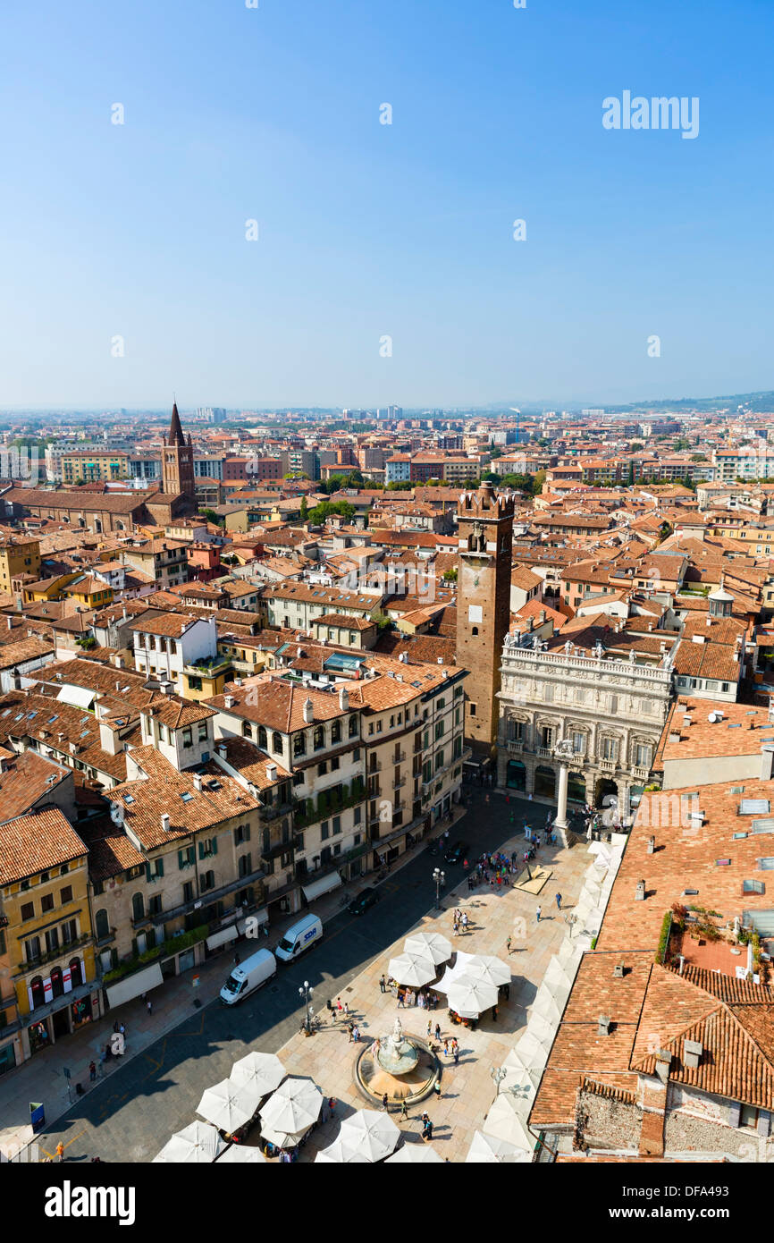 View over the Piazza delle Erbe and the rooftops of the city from the Torre dei Lamberti, Verona, Veneto, Italy - Stock Image