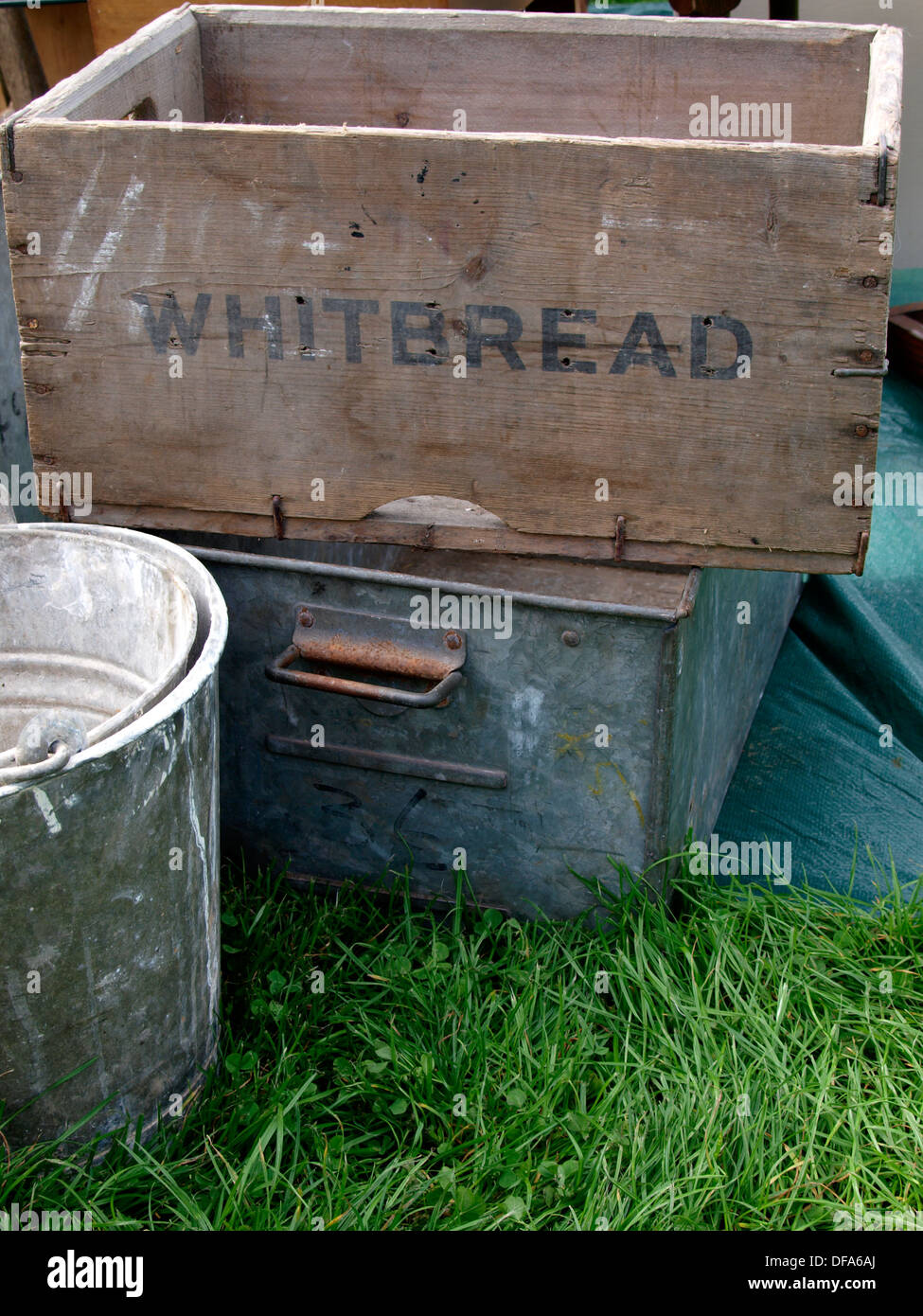Old Wooden Whitbread Box For Sale At Car Boot Sale Uk 2013 Stock