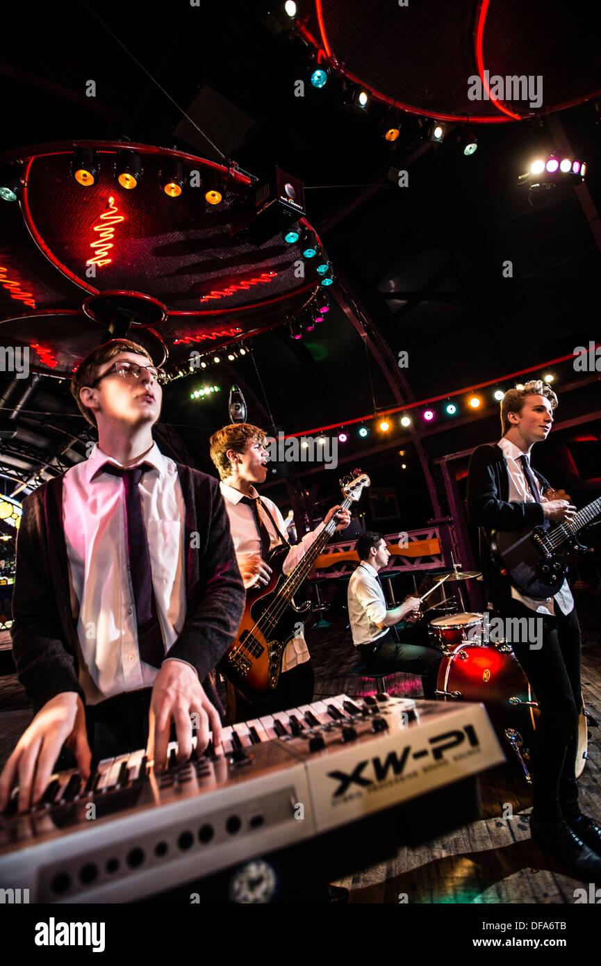Welsh language pop rock teenage boy band group BROMAS, Wales UK - Stock Image