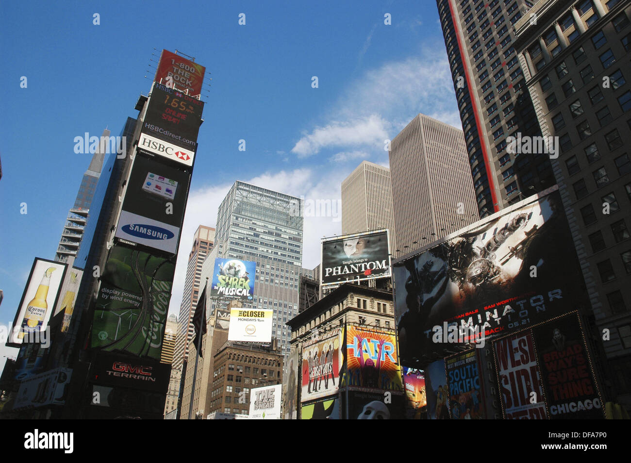 New York City (USA): skyscrapers and ads in Times Square - Stock Image