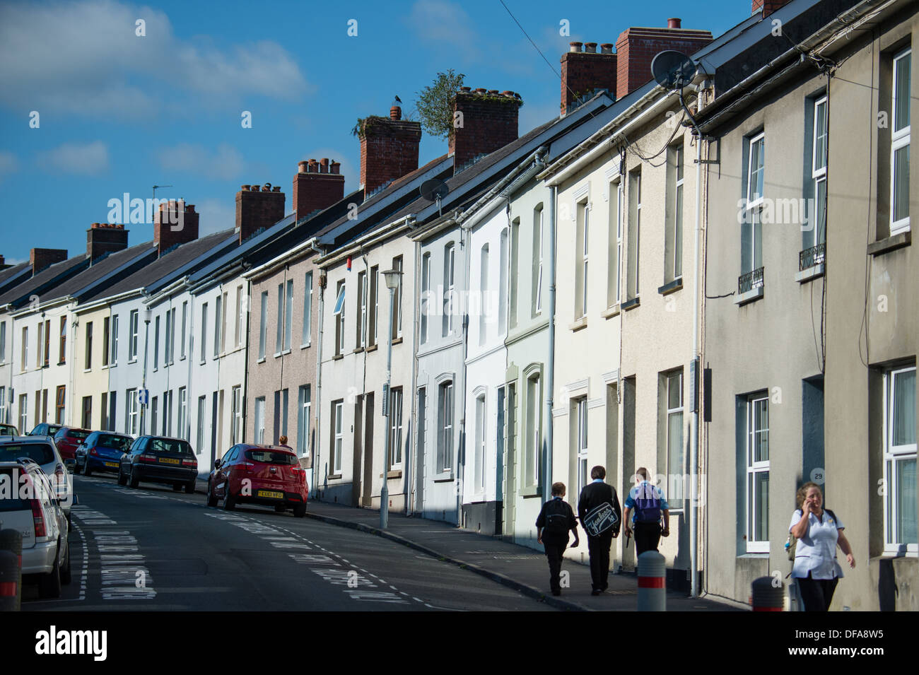 A street  row of 'two up two down'  terraced houses in Carmarthen Wales UK - Stock Image