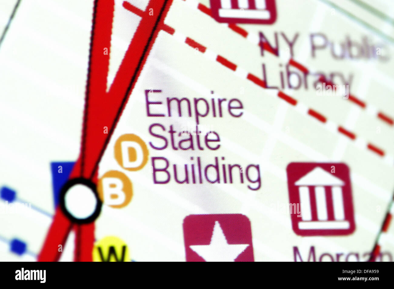 Detail of map: Empire State Building, Manhattan. New York ... on grand central map, mount rushmore map, rockefeller center map, new york map, times square map, new wtc map, nyc shooting map, ground zero map, building 7 map, lincoln park chicago neighborhood map, twin towers memorial map, ny state road map, central park map, museums in nyc map, las vegas map, hotel pennsylvania map, jersey city medical center map, nyc beaches map, freedom tower map, green lakes state park trail map,