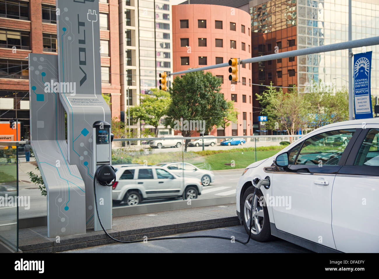 A Chevrolet Volt electric car plugged in to a charging