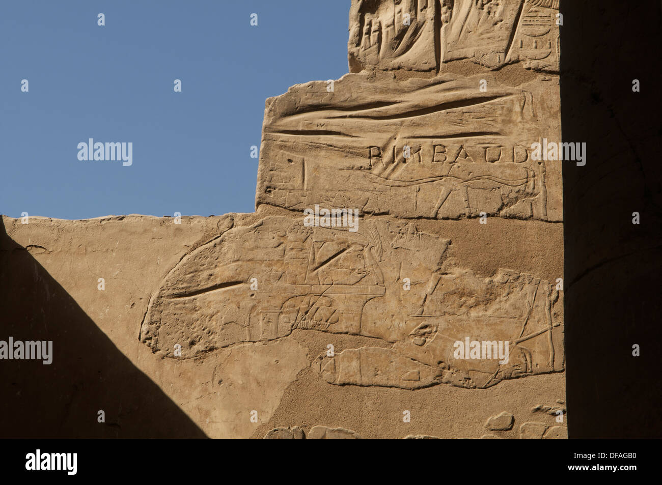 Graffito by the poet Rimbaud on a wall at Luxor Egypt. - Stock Image