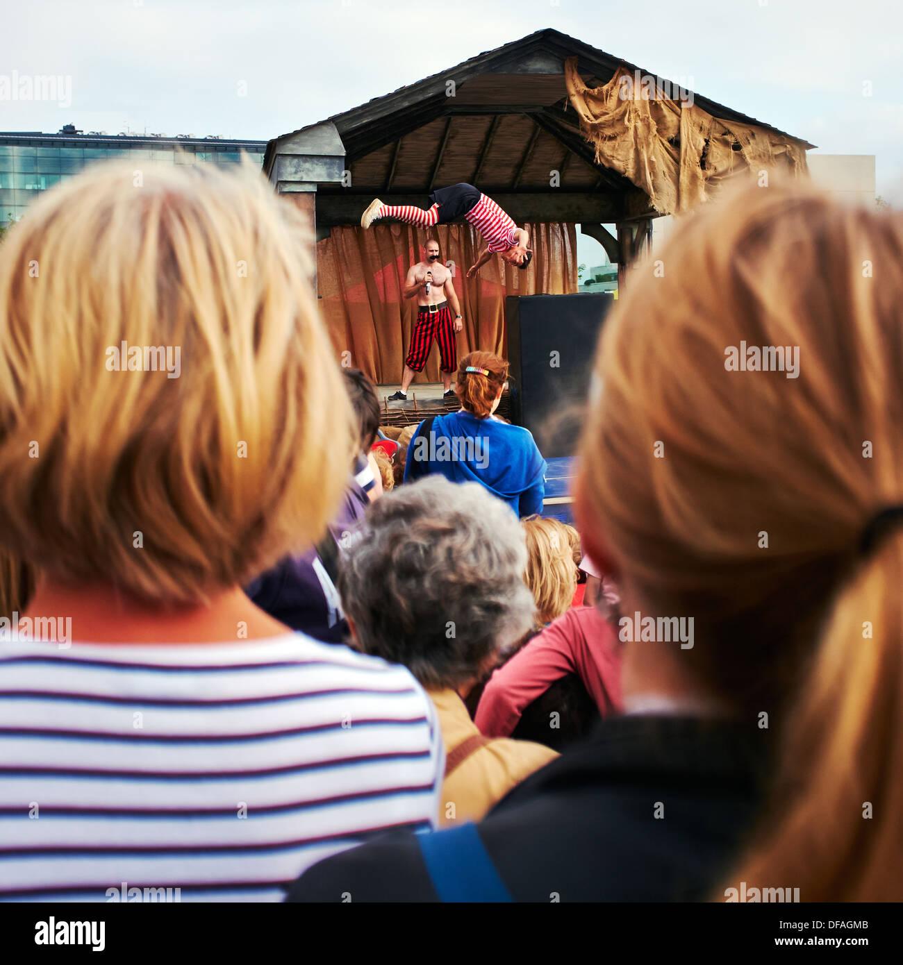 Victorian acrobat show, a scene from King's Cross Journeys, King's Cross, London N1C, 2013. - Stock Image
