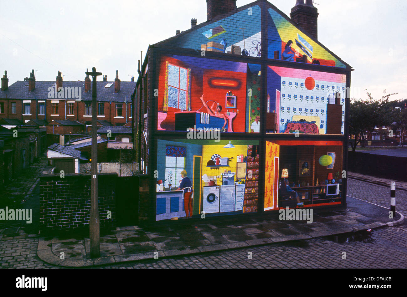 Wonderful Walter Kershaw Wall Mural INSIDE OUT HOUSE On The Gable End Of A Rochdale  House Lancashire UK 1975 KATHY DEWITT