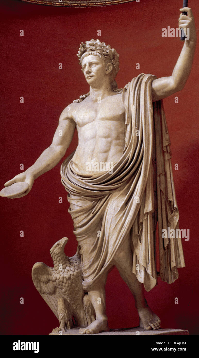 Emperor Claudius (10 BC-54 AD) as Jupiter, wearing the civil crown of oak leaves and with the eagle at his feet. - Stock Image