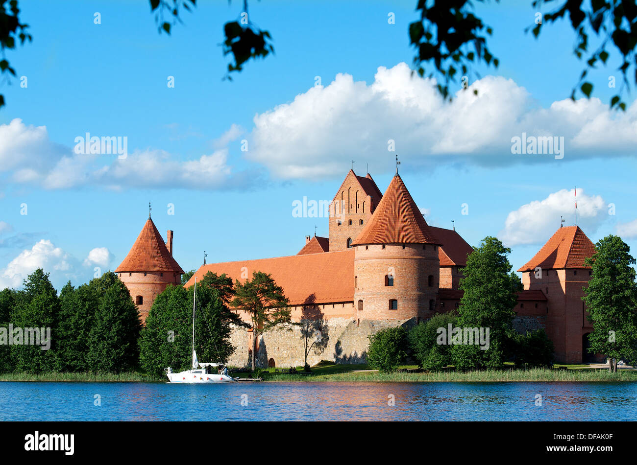Trakai castle (Traku pilis) in Lithuania, Vilnius, Trakai castle in Lithuania in spring time, Island castle in Trakai - Stock Image