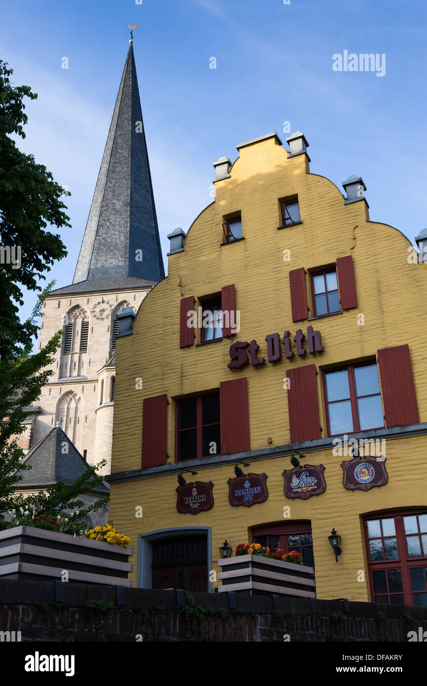 Bar and citykirche church, Moenchengladbach - Stock Image