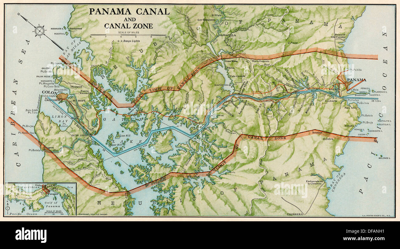 Panama Canal Zone map, 1913 - north diagonally left.  Color lithograph - Stock Image