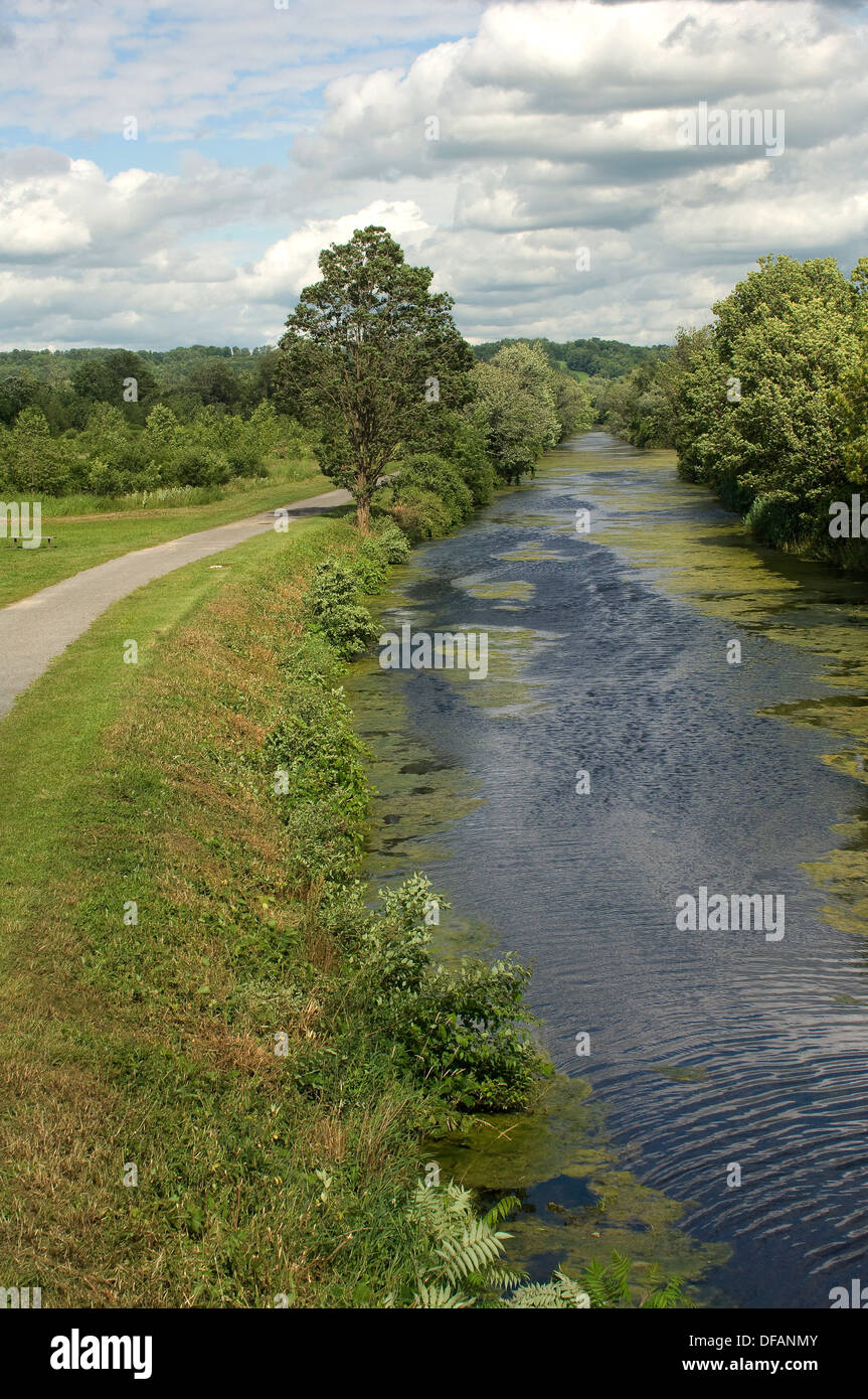 Erie Canal and towpath near DeWitt, New York. Digital photograph - Stock Image