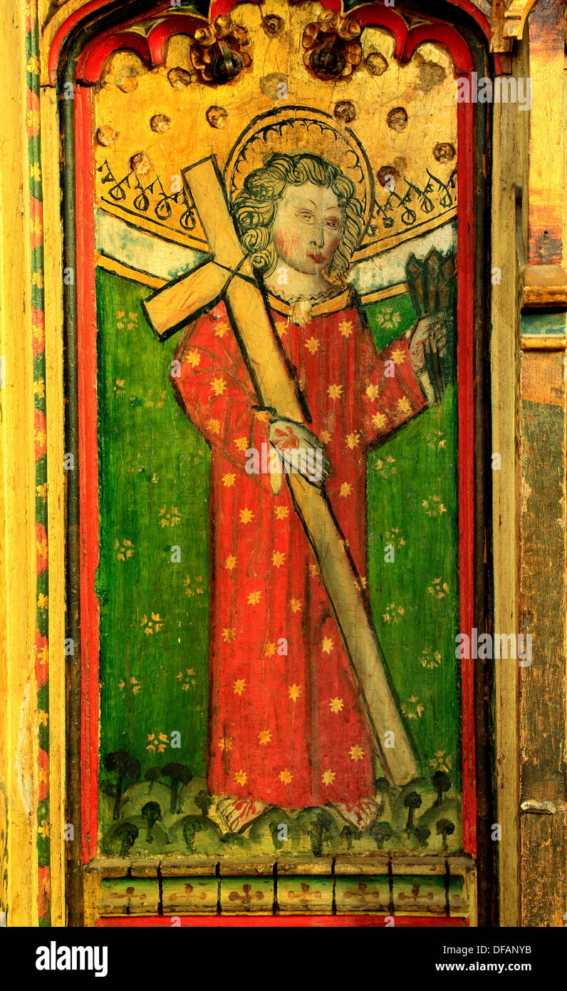 Eye, Suffolk, St. William of Norwich, medieval rood screen painting 1480, England UK English paintings screens saint saints - Stock Image