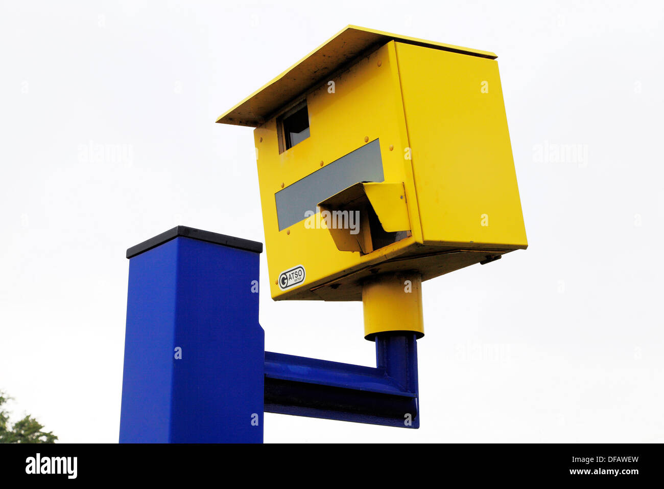 Speed Camera, roadside trap, Gatso meter, England UK traffic calming device cameras - Stock Image