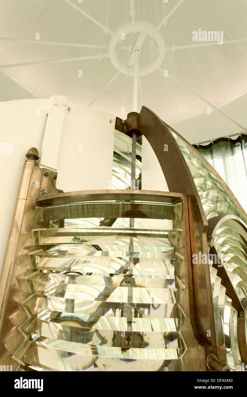 Fresnel Lens in Grays Harbor Lighthouse,Washington State,USA,North America - Stock Image