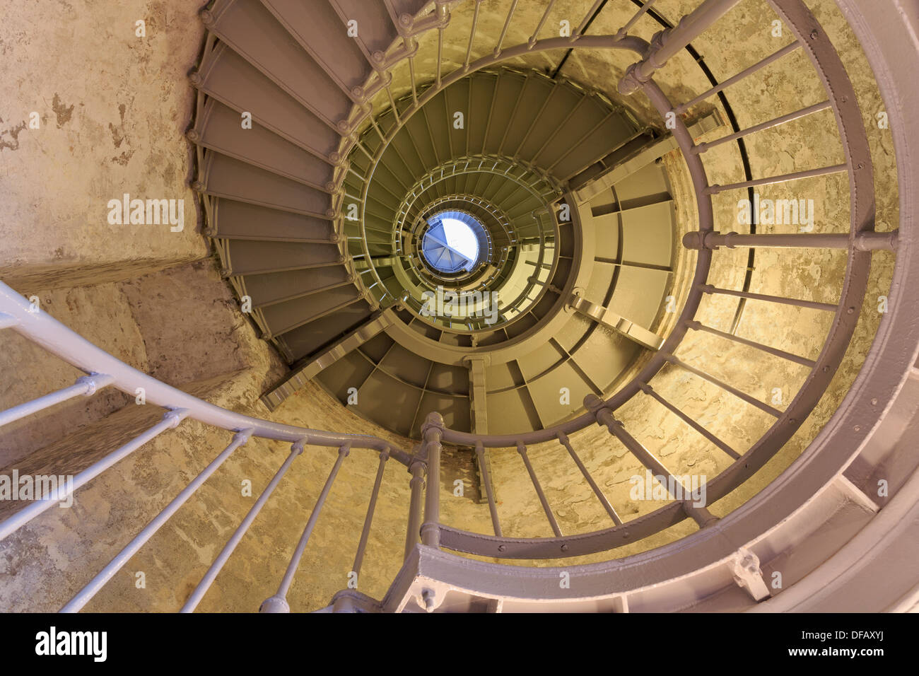 Spiral stairs in Grays Harbor Lighthouse,Westport,Washington State,USA,North America - Stock Image