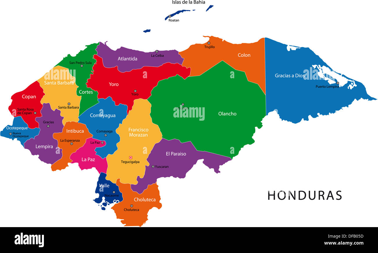 Honduras map stock photos honduras map stock images alamy honduras map gumiabroncs Gallery