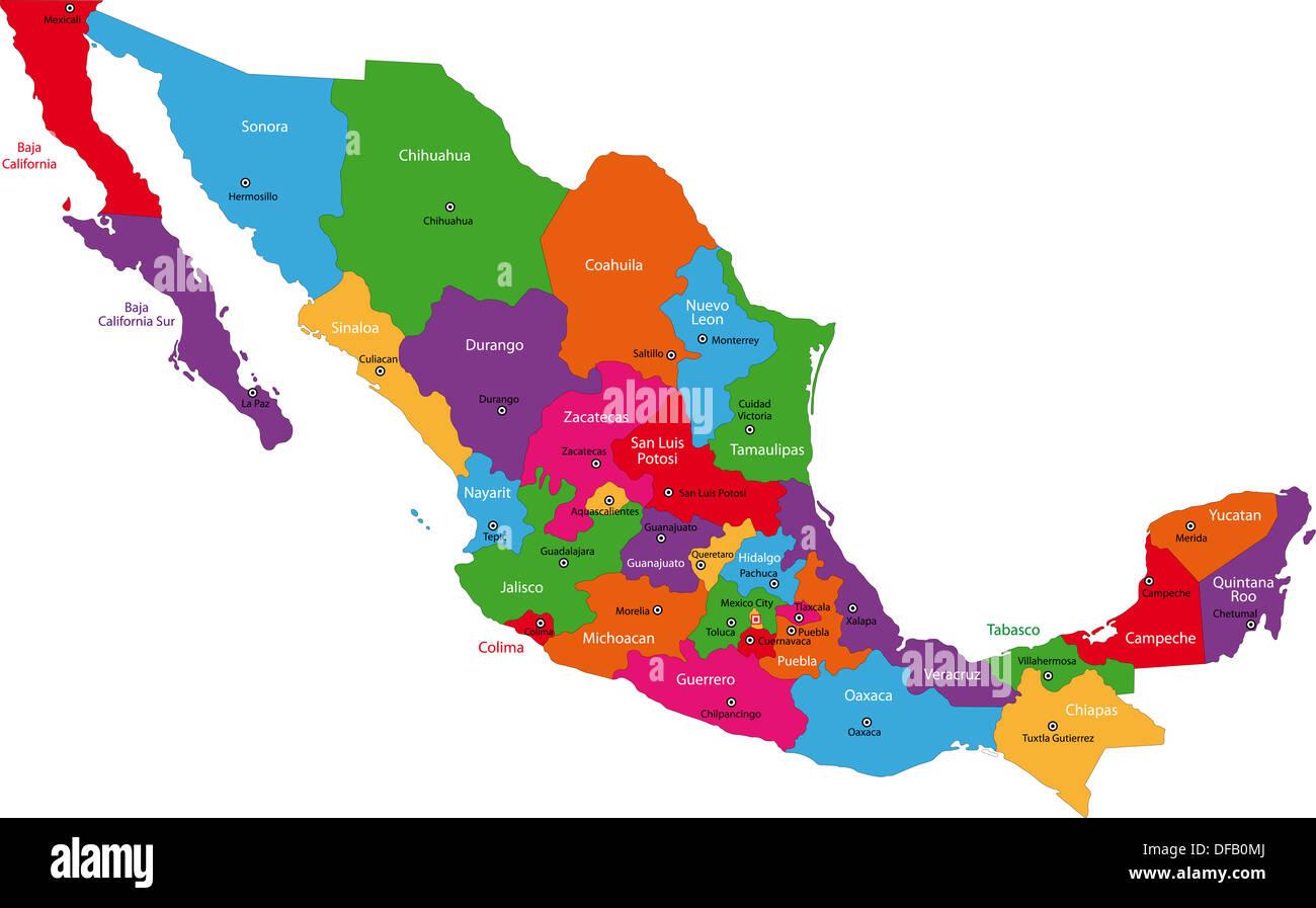 Nezahualcoyotl Mexico Map.Mexico Map Vector Stock Photos Mexico Map Vector Stock Images Alamy