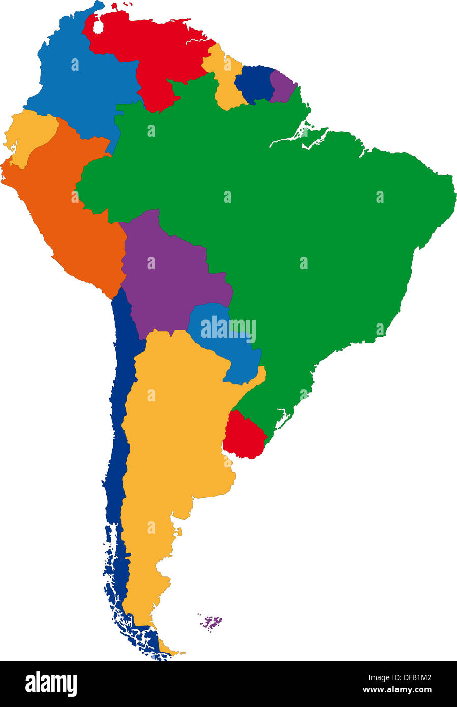 Colorful South America map Stock Photo: 61093762 - Alamy on map of panama, map of venezuela, map of travel, map of argentina, map of spain, map of playa, map of bolivia, map of colombia, map of buenos aires, map of costa rica, map of africa, map of europe, map of sudamerica, map of las antillas, map of barbados, map of france, map of paraguay, map of peru, map of ecuador, map of australia,
