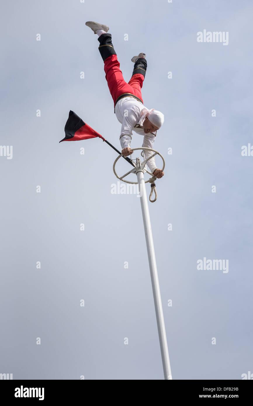 Acrobat performing stunts, Great New York State Fair Stock Photo