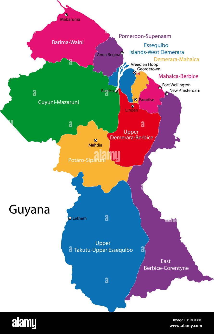 Guyana map Stock Photo: 61094780 - Alamy
