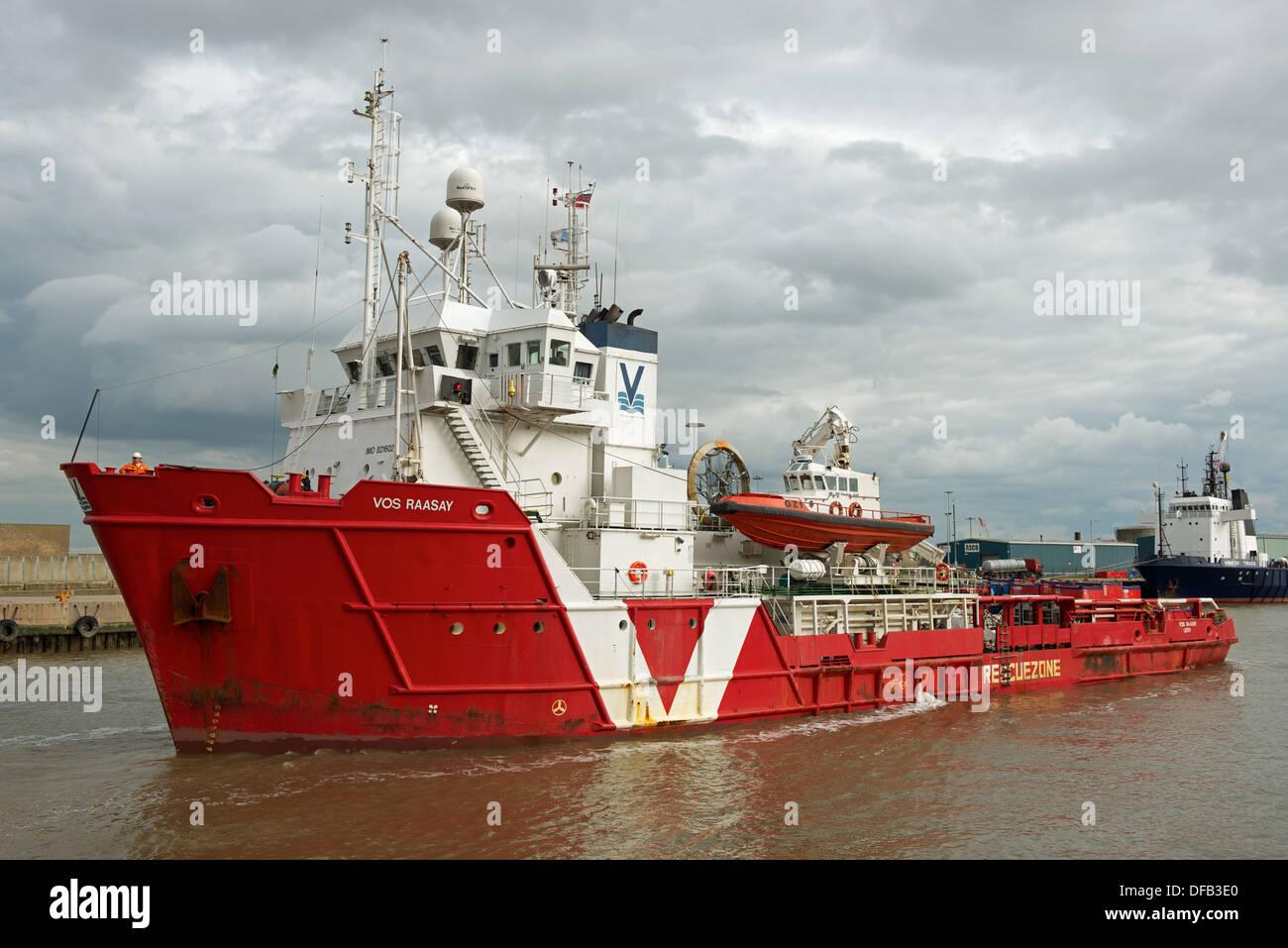 North Sea gas field supply ship 'Vos Raasay', river Yare, Great Yarmouth, Norfolk, UK. - Stock Image