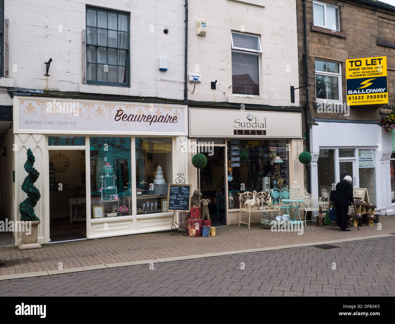 Beaurepaire Bespoke Cake Creations and Sundial Style antique furniture shop in Belper, Derbyshire, United Kingdom. - Stock Image