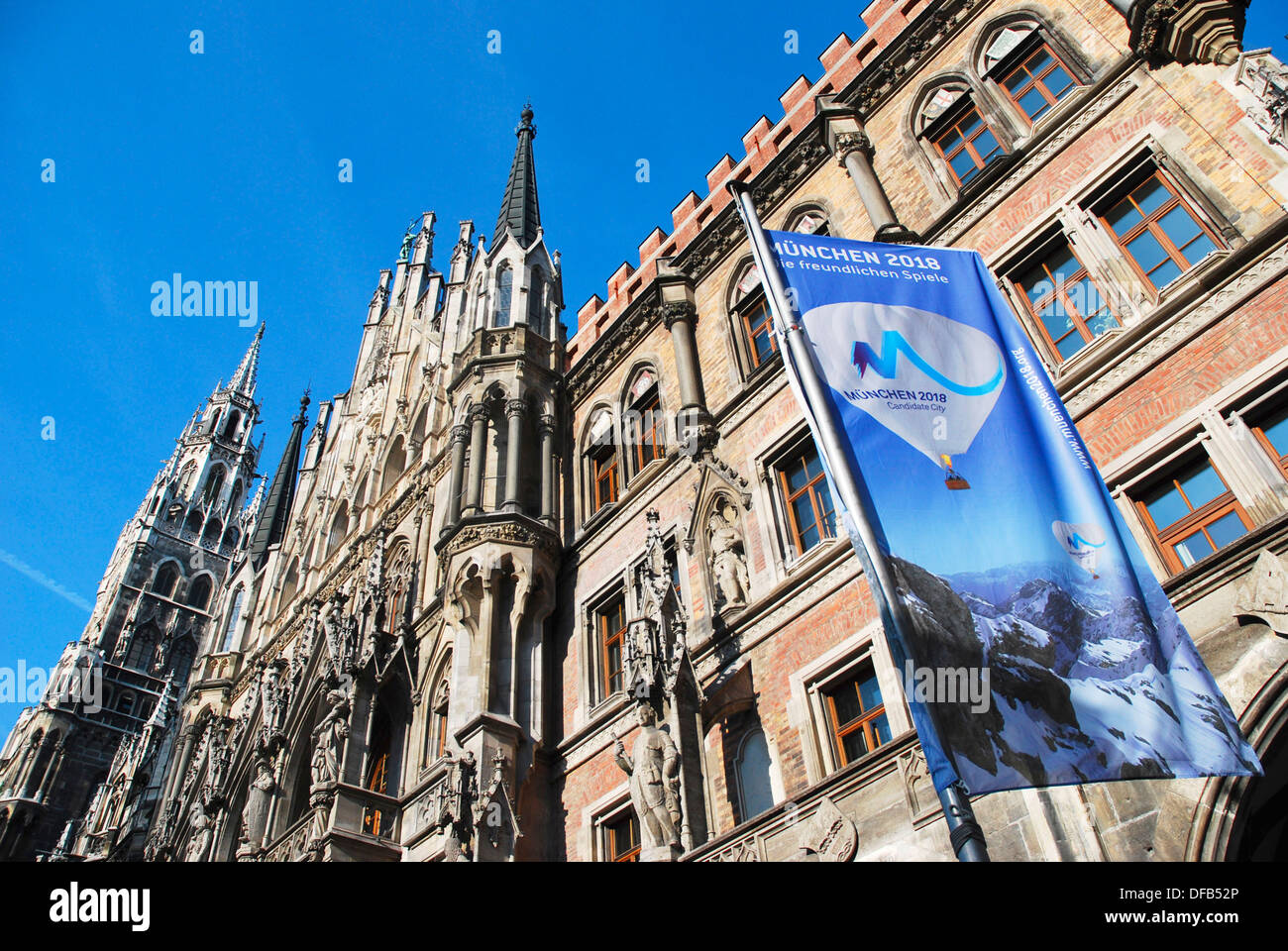 Application For Olympic flag in front of the Winter Games in 2018 before the Munich City Hall - Stock Image