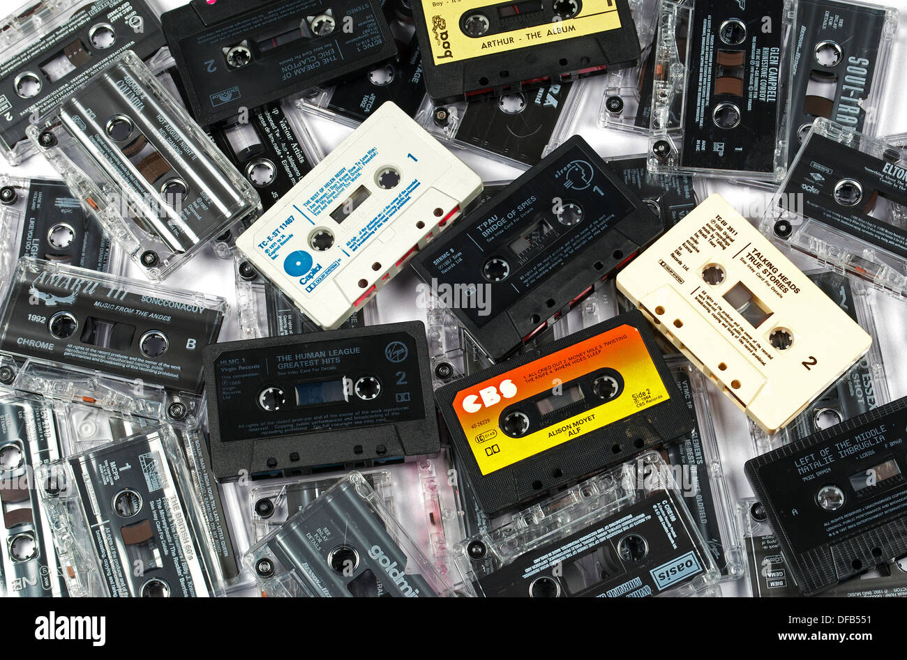 Music cassette tapes Stock Photo