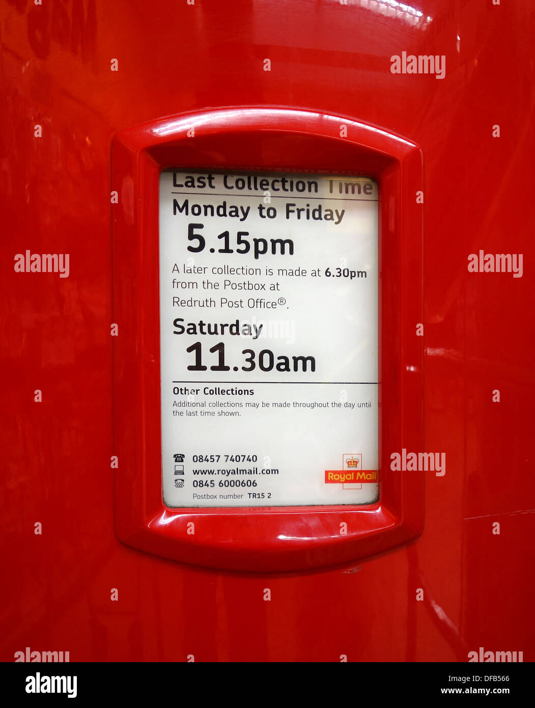 Post Office Collection Times >> A Last Collection Times Notice On A Uk Post Box Stock Photo