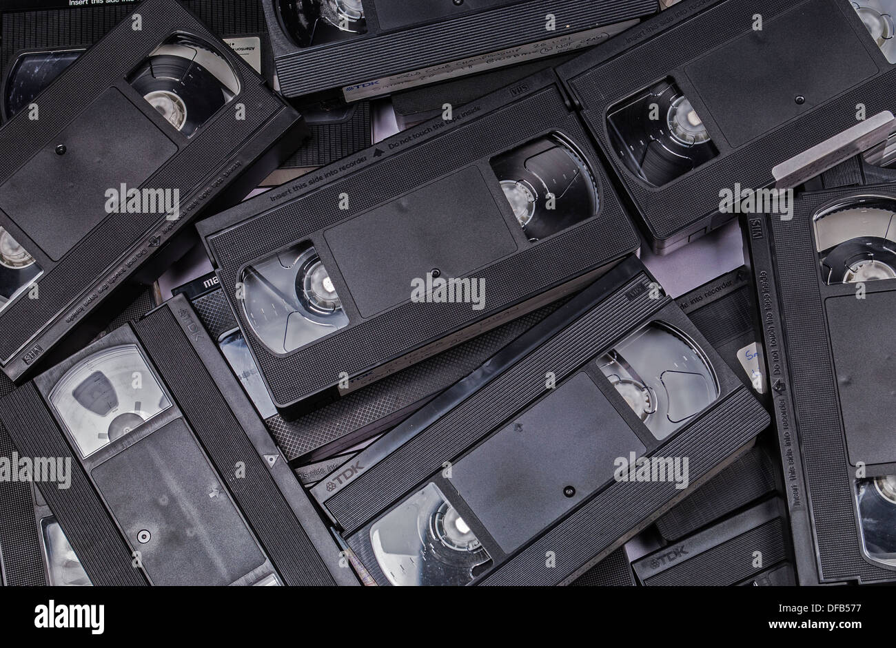 Old video cassettes - Stock Image
