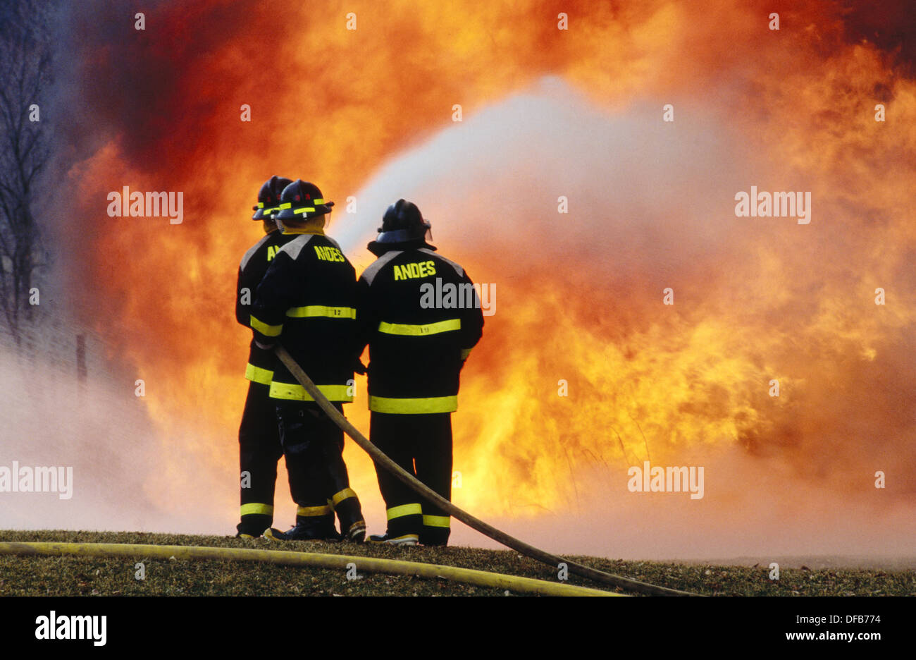 firemen putting out fire stock photo 61098104 alamy