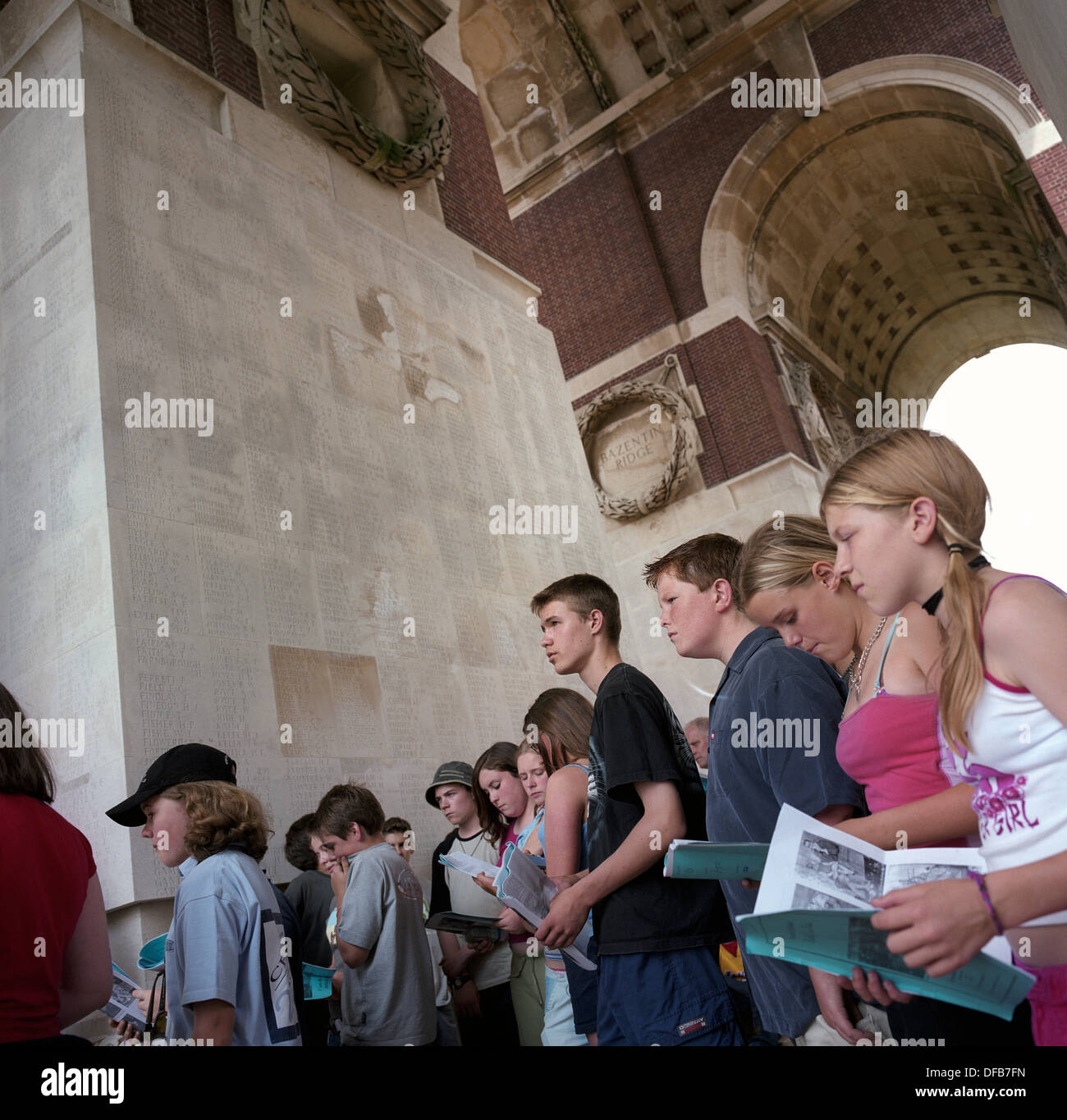 Pupils from Woolmer Hill School, Haslemere, Surrey, at the WW1 Thiepval Memorial, the largest British war memorial in the world – there were more than 57,000 British casualties in a single day during the battle of the Somme. The Thiepval Memorial to the Missing of the Somme is a major war memorial to 72,191 missing British and South African men who died in the Battles of the Somme of the First World War between 1915 and 1918 with no known grave. Designed by Sir Edwin Lutyens, the memorial was built between 1928 and 1932 and is the largest British battle memorial in the world. - Stock Image