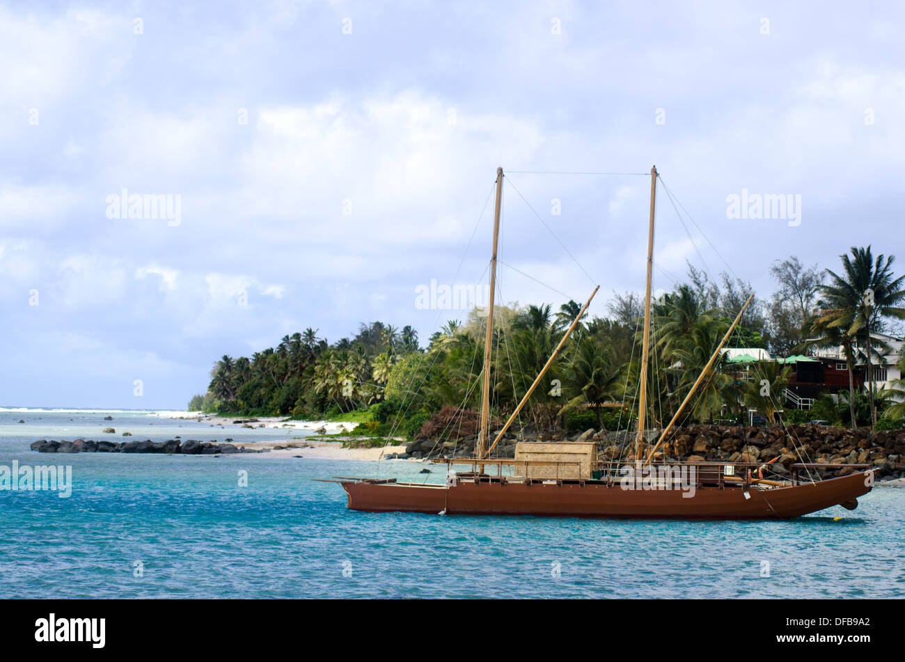 Doubled hulled vaka in Rarotonga Cook Islands - Stock Image