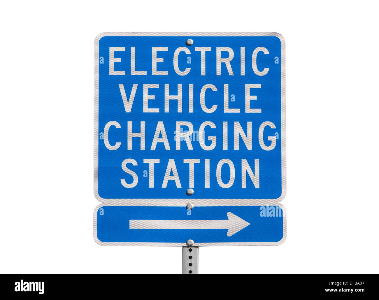 Electric vehicle charging station sign isolated with clipping path. - Stock Image