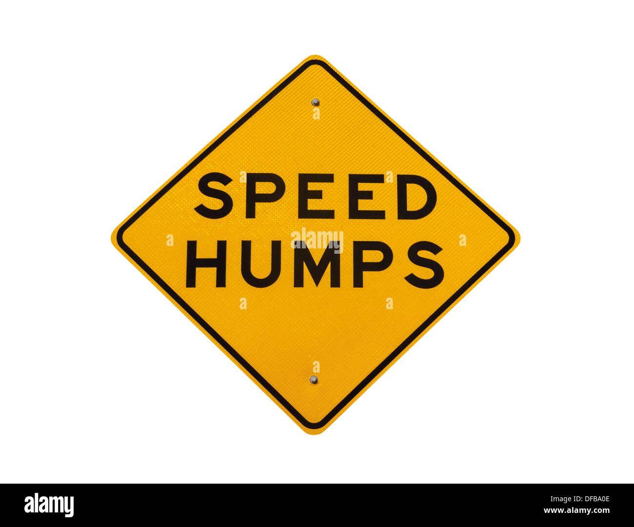 Speed humps road sign isolated with clipping path. - Stock Image