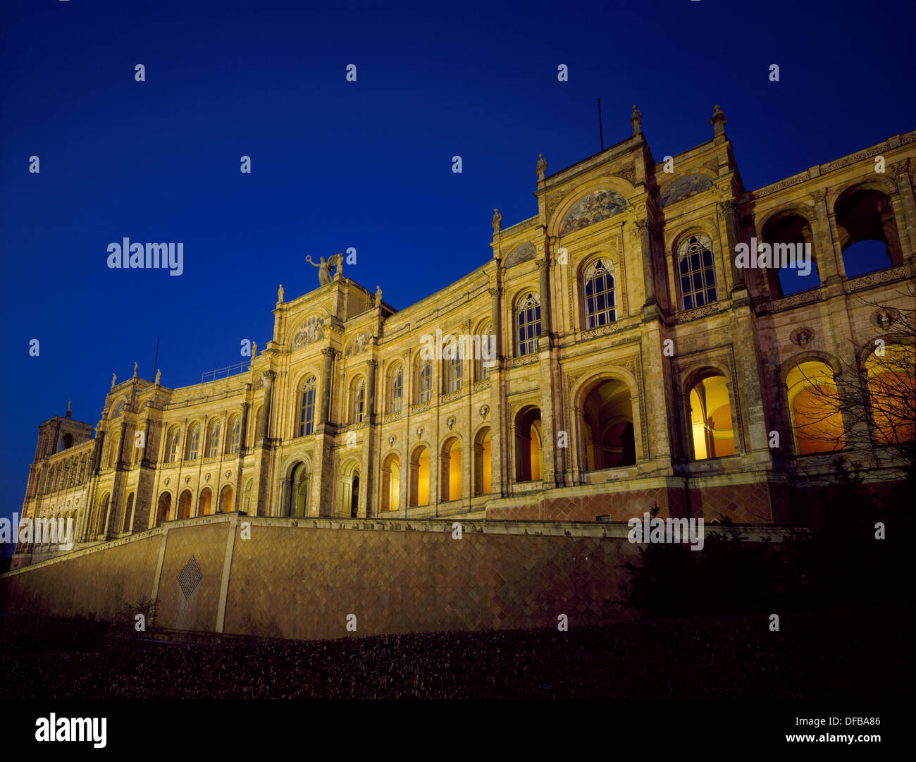 Maximilianeum building, home of the Bavarian Landtag (Architect Friedrich Bürklein). Munich. Germany - Stock Image