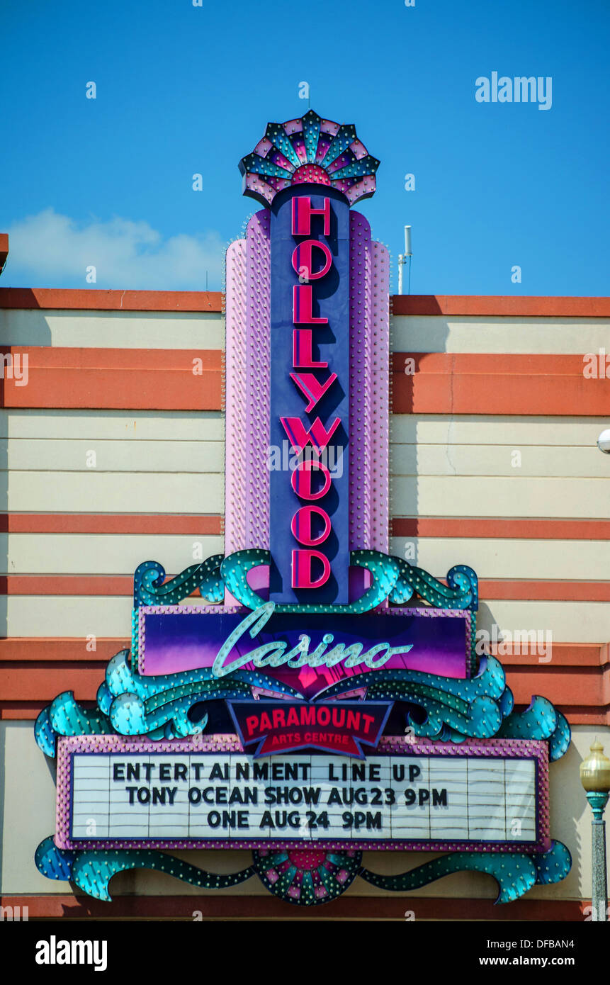 Sign for the Hollywood Casino in Aurora, Illinois along the Lincoln Highway. - Stock Image