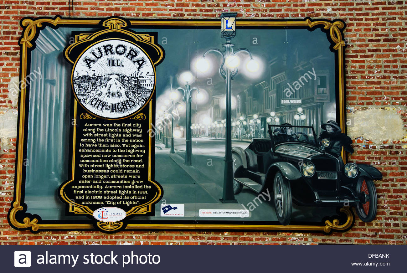 Lincoln Highway Interpretive mural in Aurora, Illinois, a town along the Lincoln Highway - Stock Image