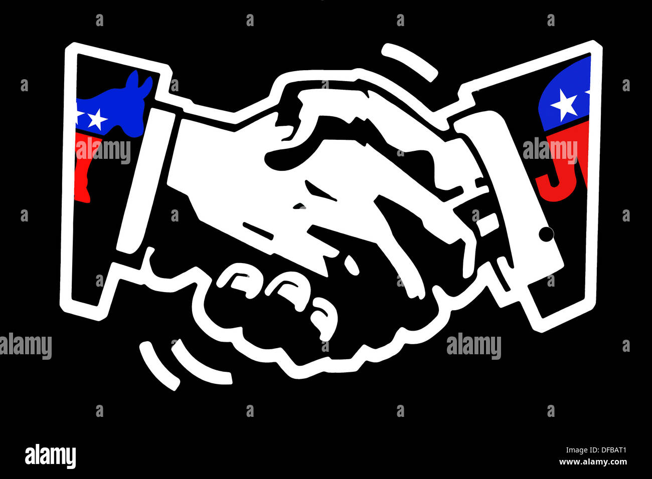 stencil drawing white on black painted wall of a handshake with democratic donkey and republican elephant color mascots - Stock Image
