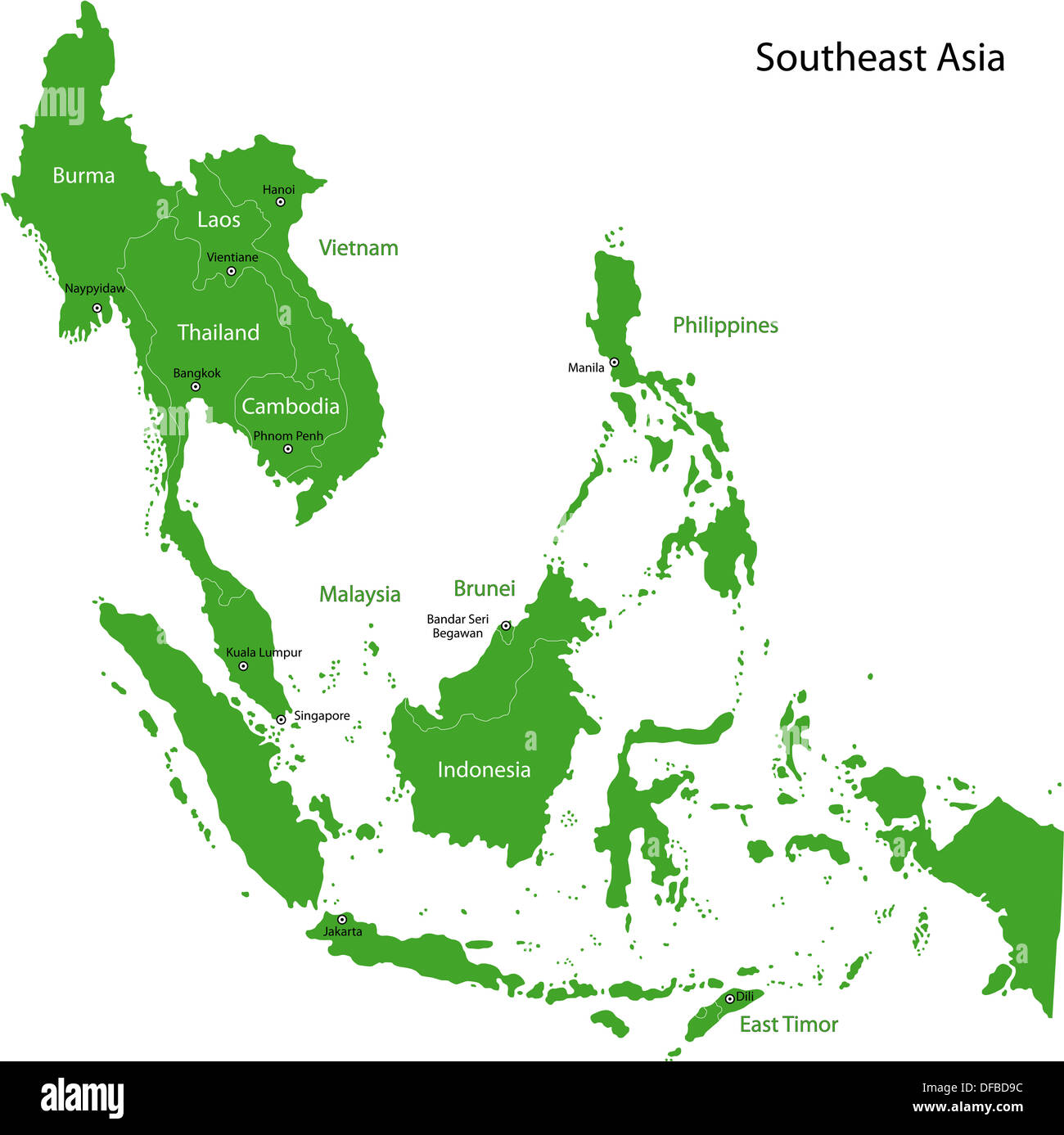 Green Southeastern Asia Stock Photo