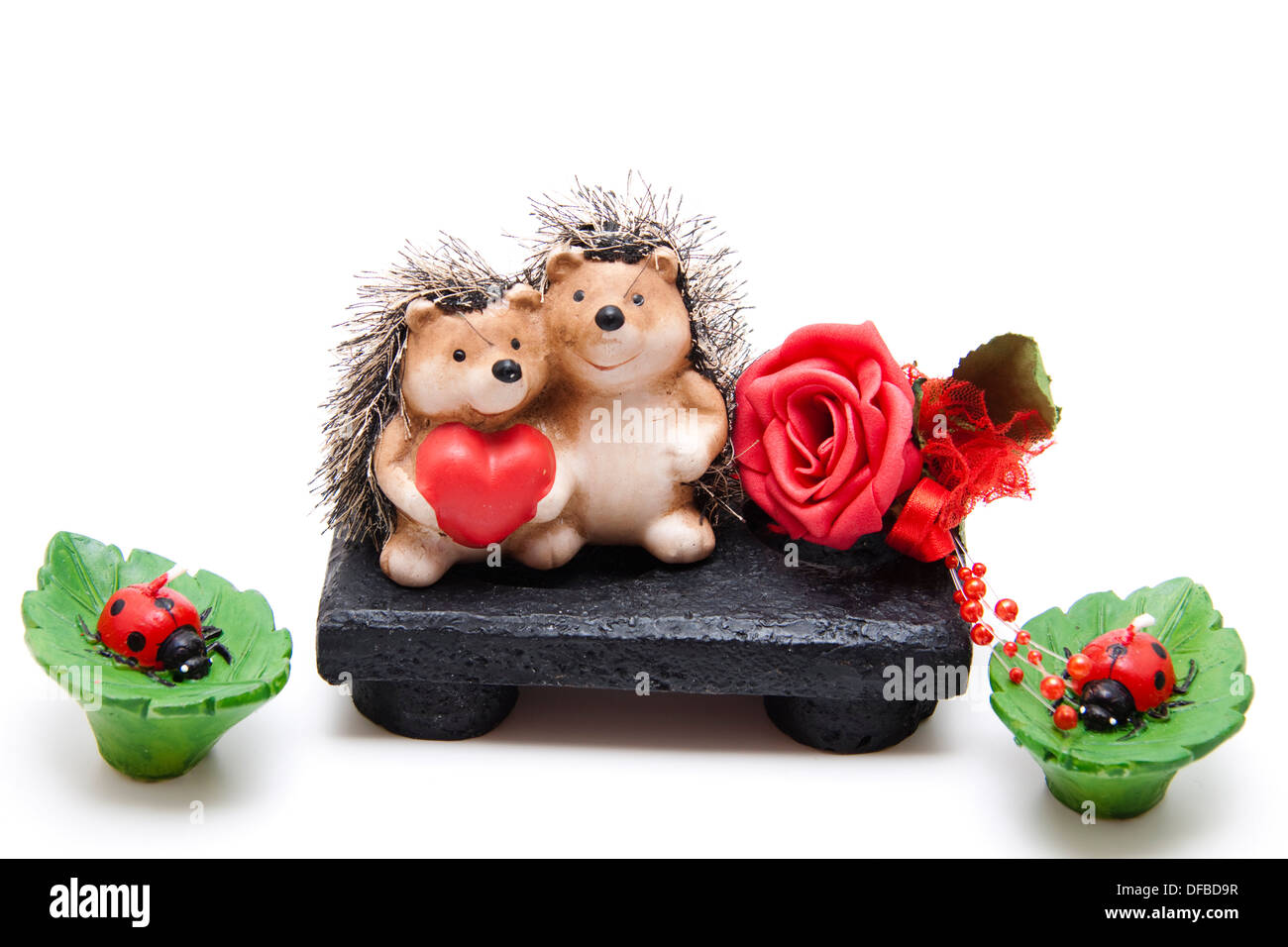 Hedgehog pair with rose - Stock Image