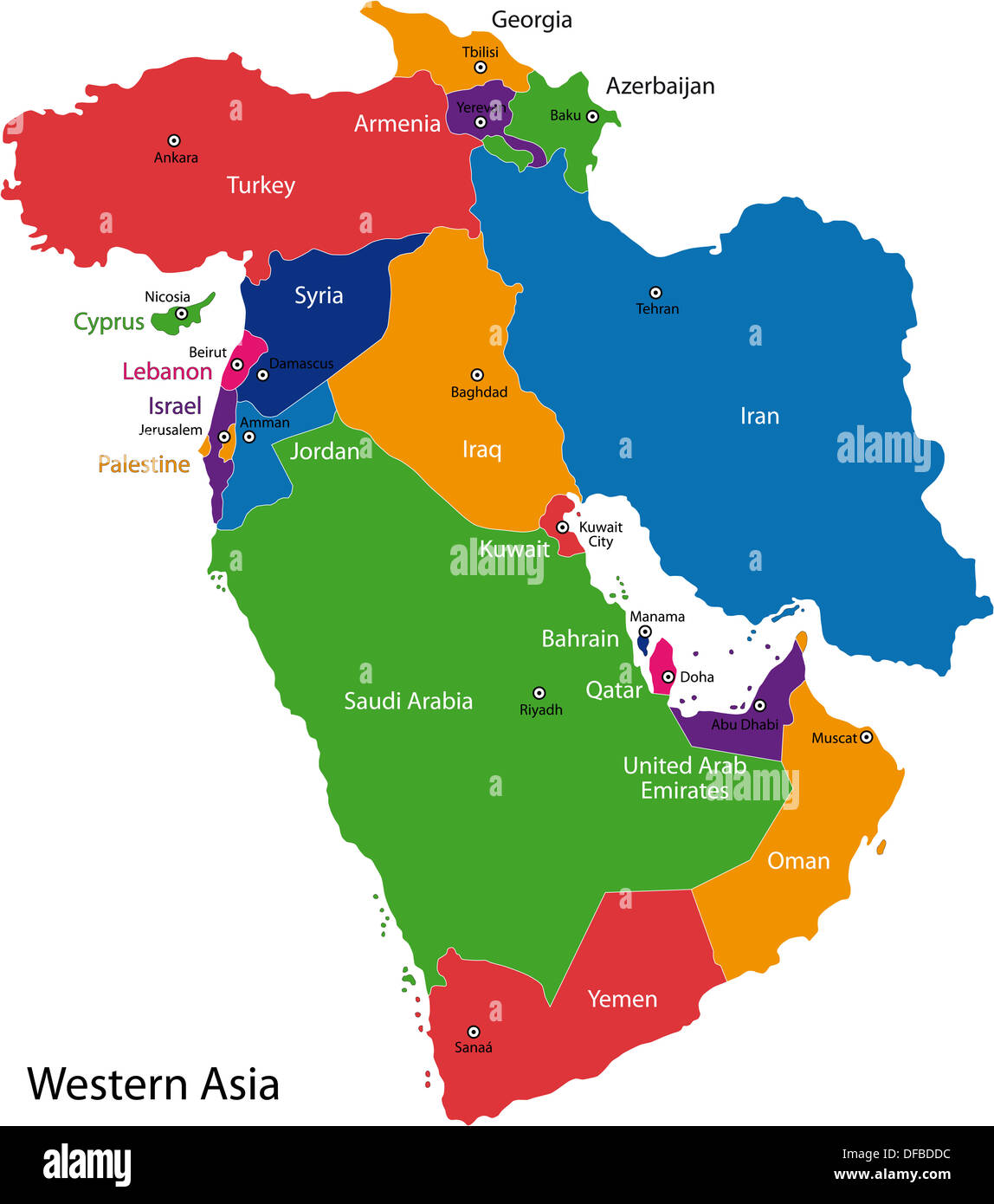Western Asia map Stock Photo: 61102984 - Alamy