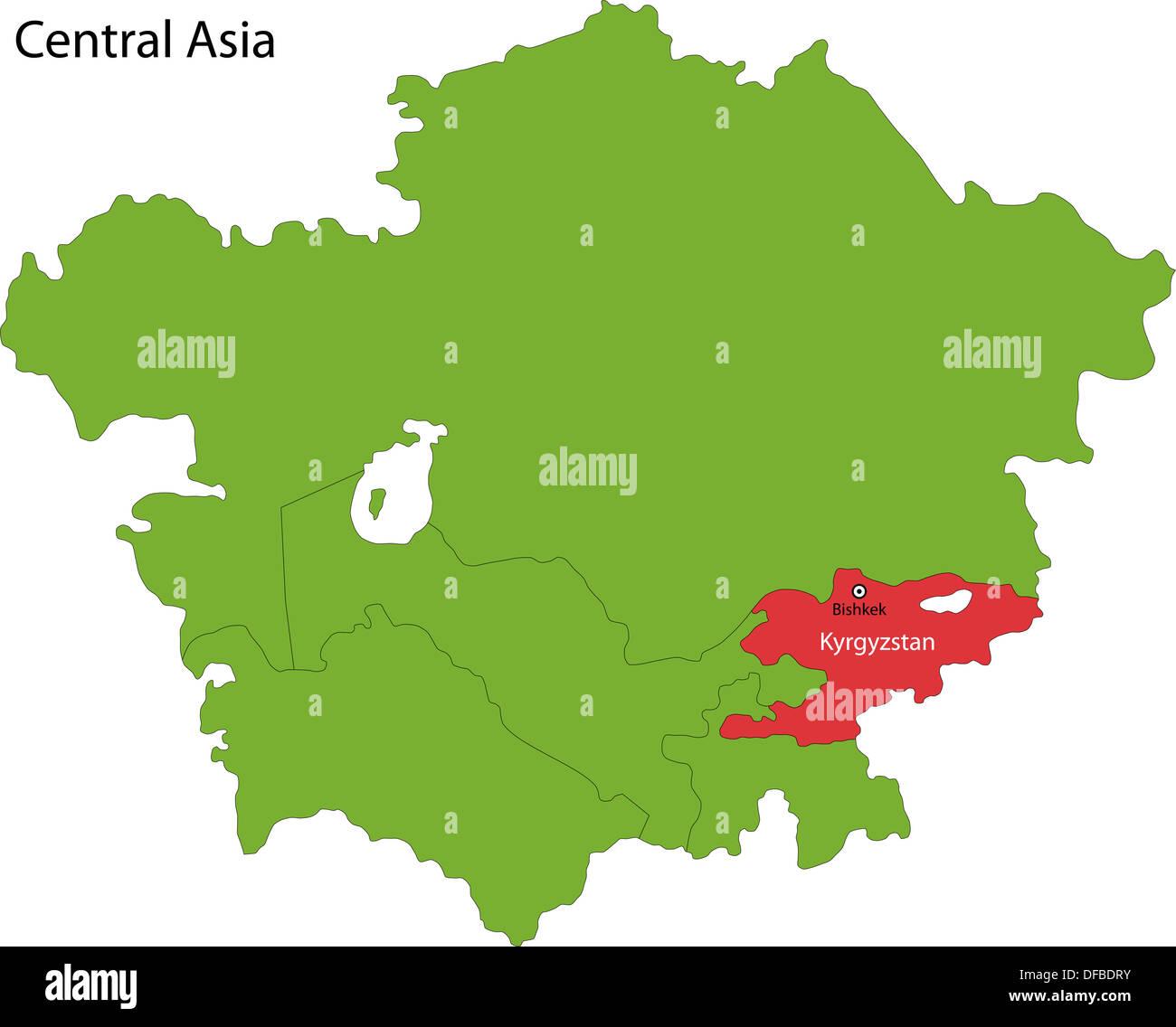 Map Of Asia Kyrgyzstan.Kyrgyzstan Map Stock Photo 61103279 Alamy