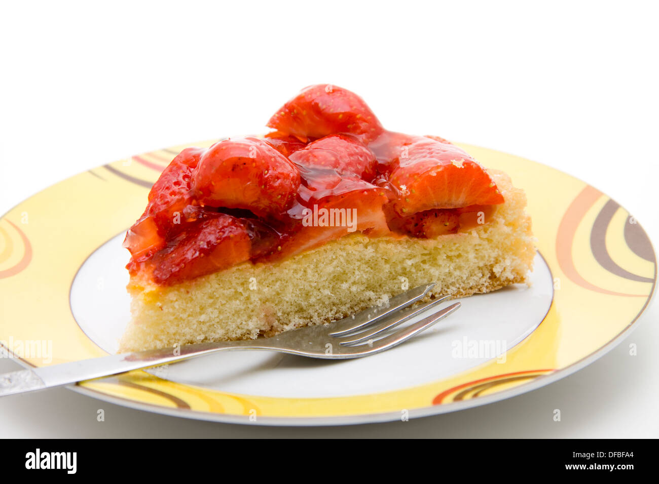 Strawberry cakes with cake fork - Stock Image
