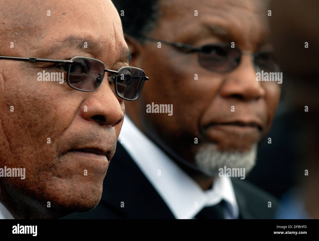ANC President Jacon Zuma is pictured with South African President Kgalema Mohlante after funeral anti-apatheid activist Billy - Stock Image