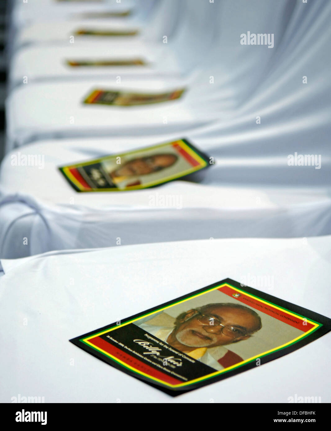 Programs on chairs ahead funeral anti-apartheid activist Billy Nair in Durban October 30 2008 Picture: Rogan Ward (SOUTH AFRICA) - Stock Image