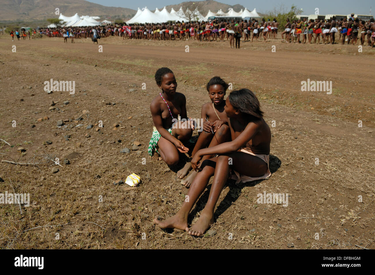 Thousands Zulu maidens participate in Reed Dance where girls after  undergoing a virginity test lay reeds King Goodwill